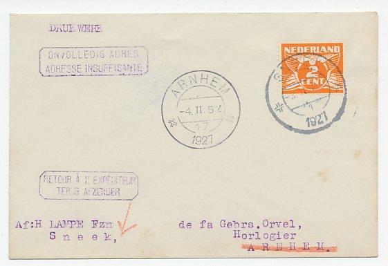 De Duif Sneek.Sneek Arnhem 1927 Onvolledig Adres Terug Afzender