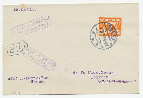 De Duif Sneek.Sneek Arnhem 1927 Firma Bestaat Niet Meer Terug Afzender